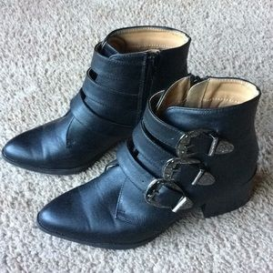 Buckle detail black ankle moto boots